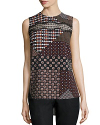 Thakoon Lace Trim Patchwork Tank Pink Multicolor