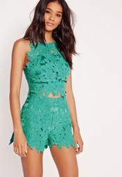 Missguided Flower Lace Top Green Green