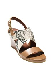 Cole Haan Penelope Snake Print Leather Wedge Sandals Natural