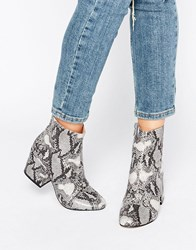 Office Ant Snake Print Heeled Ankle Boots Snake Pu Grey