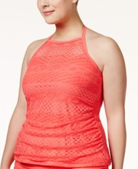 Island Escape Plus Size Underwire High Neck Tankini Top Women's Swimsuit Coral