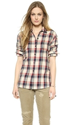 Nili Lotan Worker Button Down Shirt Red Oatmeal Plaid