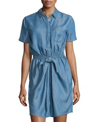 Neiman Marcus Linen Chambray Short Sleeve Shirtdress Denim Blue