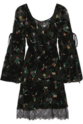 Etro Velvet And Lace Trimmed Printed Devore Chiffon Dress Black