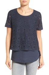 Pleione Women's Double Layer Short Sleeve Lace Top Navy