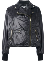 Boutique Moschino Biker Style Puffer Jacket Black