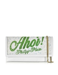 Philipp Plein Captain Leather And Crystals Clutch W Chain Strap