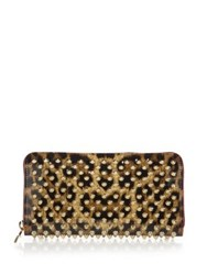 Christian Louboutin Panettone Spiked Leopard Print Zip Around Wallet Brown Gold