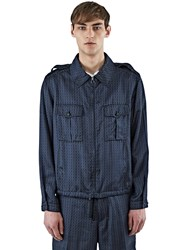 Lanvin Geometric Jacquard Collared Jacket Blue