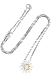 Saint Laurent Daisy Enameled Silver Tone Necklace