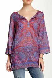 Angie Printed Split Neck Blouse Juniors Multi