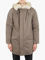 Yves Salomon Dark Grey Rabbit Fur Lined Parka