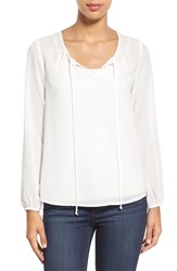 Women's Gibson High Low Textured Chiffon Blouse Off White