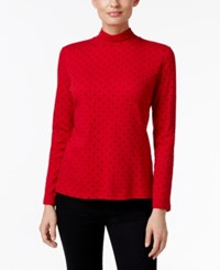 Karen Scott Dot Print Mock Neck Top Only At Macy's New Red Amore