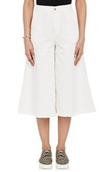 Off White C O Virgil Abloh Wide Leg Crop Jeans White