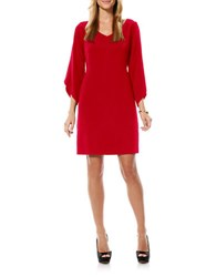 Laundry By Shelli Segal Crepe Three Quarter Tulip Sleeve Dress Red