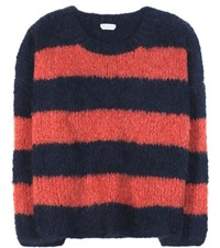 Chloe Striped Mohair Virgin Wool And Cashmere Sweater Blue
