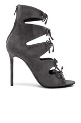 Balenciaga Suede Tie Booties In Gray