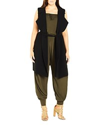 City Chic Sleeveless Trench Vest Black