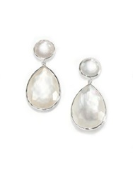 Ippolita Wonderland Mother Of Pearl Clear Quartz And Sterling Silver Teardrop Snowman Doublet Post Earring Silver White