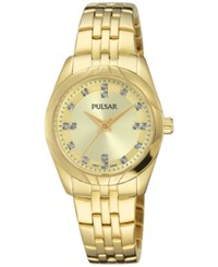Pulsar Women's Night Out Gold Tone Stainless Steel Bracelet Watch 28Mm Ph8146