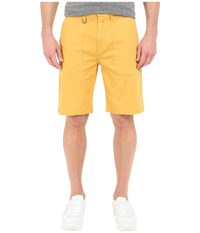 Publish Kea Washed Out Stretch Twill On Military Patch Pocket Shorts Mustard Men's Shorts Yellow