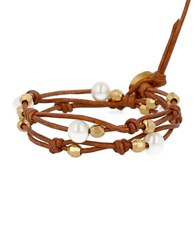 Chan Luu Holiday 18K Gold Plated Sterling Silver And Leather Bracelet Brown