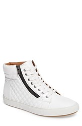 Steve Madden Men's Quodis Quilted High Top Sneaker White Leather