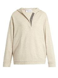 Brunello Cucinelli Cashmere Blend Hooded Sweatshirt Beige