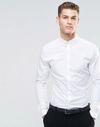 Asos Skinny Shirt In White With Tie Pin And Long Sleeves White