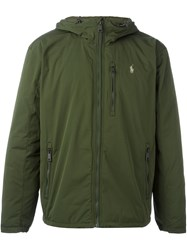Polo Ralph Lauren Logo Embroidered Hooded Jacket Green