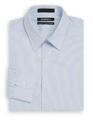 Saks Fifth Avenue Classic Fit Satin Striped Cotton Dress Shirt White Blue