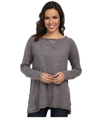 Allen Allen Long Sleeve Double Layer Crew Dark Grey Women's Long Sleeve Pullover Gray