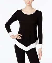 Inc International Concepts Colorblocked Handkerchief Hem Sweater Only At Macy's Deep Black