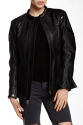 Whet Blu Stand Up Collar Genuine Leather Jacket Black