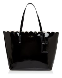 Kate Spade New York Lily Avenue Patent Carri Tote Black Crisp Linen