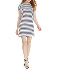 Lauren Ralph Lauren Striped Stretch Tee Dress White Navy