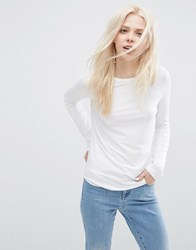 Asos T Shirt With Long Sleeves And Crew Neck White