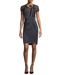 Valentino Short Sleeve Sheer Yoke Sheath Dress Nero