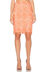 Alice Olivia Farrel Midi Pencil Skirt Coral