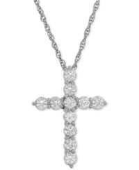 Macy's Lab Created White Sapphire Cross Pendant Necklace 1 1 2 Ct. T.W. In Sterling Silver