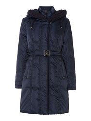 Vince Camuto Padded Long Belted Coat Navy