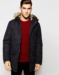 United Colors Of Benetton Parka With Faux Fur Hood Black