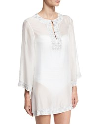Marie France Van Damme Embroidered Bell Sleeve Silk Chiffon Tunic White