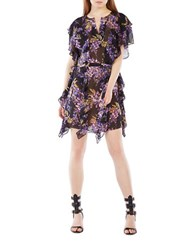 Bcbgmaxazria Filippa Floral Silk Kaftan Dress Black Multi