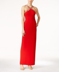 Calvin Klein Beaded X Front Crepe Gown Red