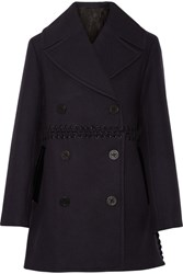 3.1 Phillip Lim Whipstitched Wool Blend Peacoat Midnight Blue