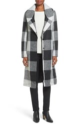 Kensie Women's Textured Plaid Long Coat
