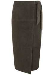 Mint Velvet Khaki Suede Wrap Midi Skirt Green