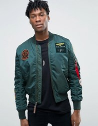 Alpha Industries Ma 1 Bomber Jacket With Patches In Dark Petrol Slim Fit Gr1 Green 1